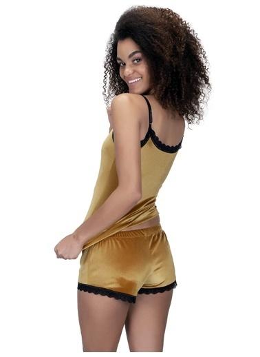 Cottonhill Hardal Sarısı Dantel Detaylı Kadife Kadın Mini Şort Hardal